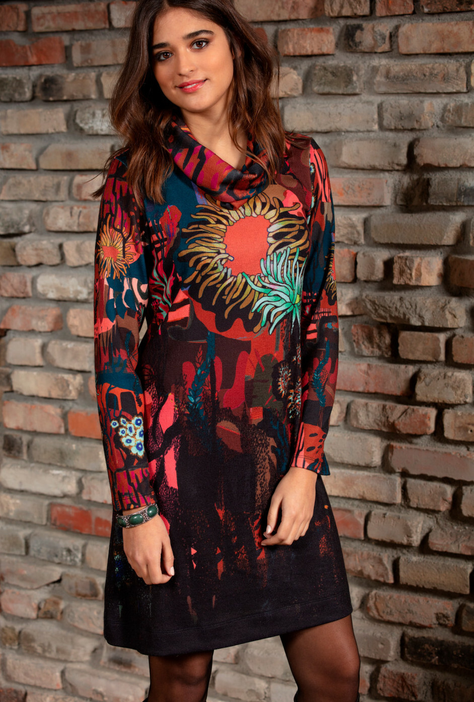 Maloka: Sedona Rock Abstract Art Sweater Dress (With Detachable Cowl Neck!) MK_ESMEE_N1