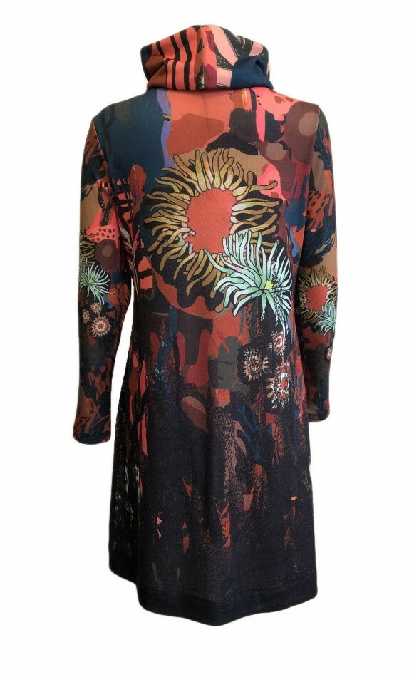 Maloka: Sedona Rock Abstract Art Sweater Dress (With Detachable Cowl Neck!)