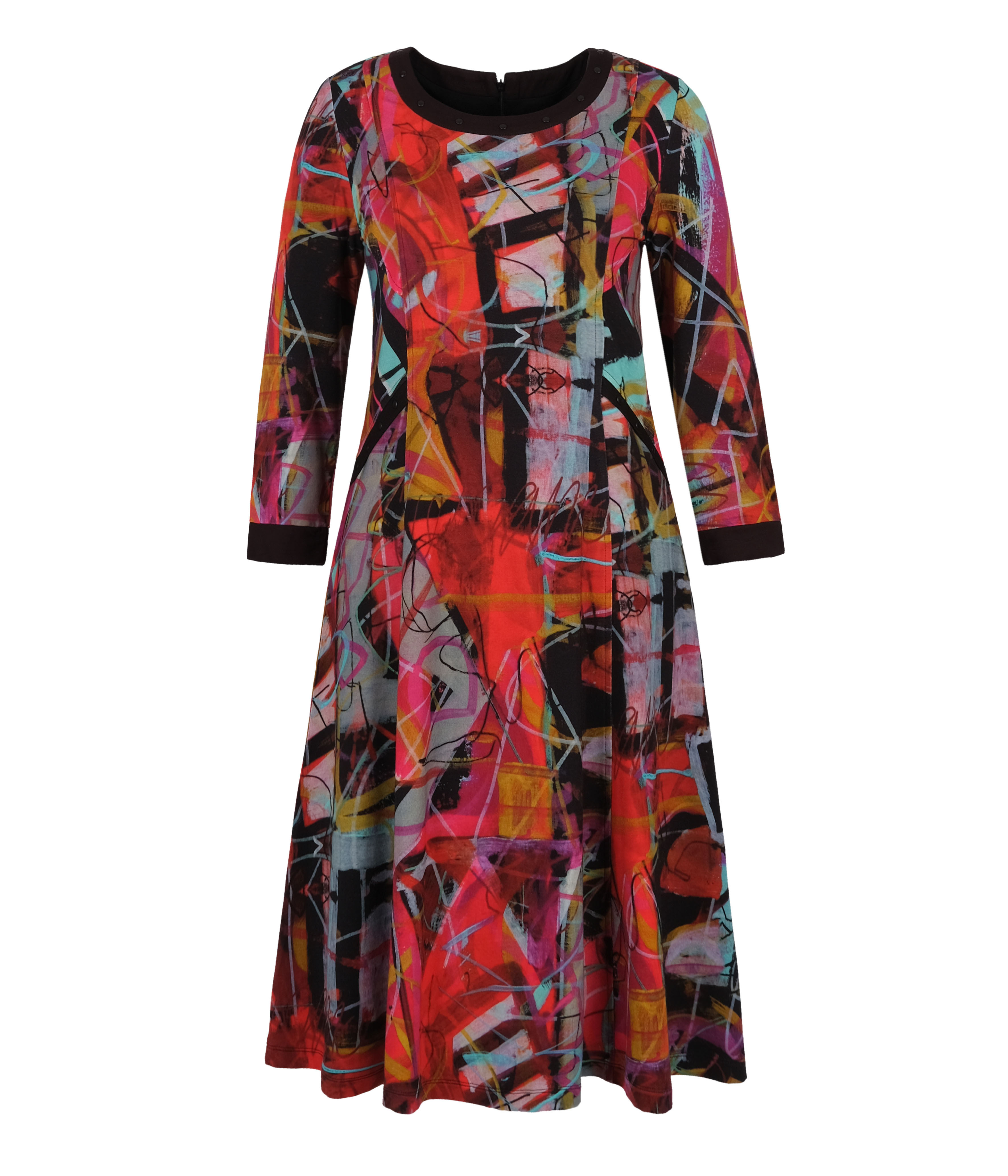 Simply Art Dolcezza: Red 3 Graffiti Abstract Art Flared Dress (1 Left!)
