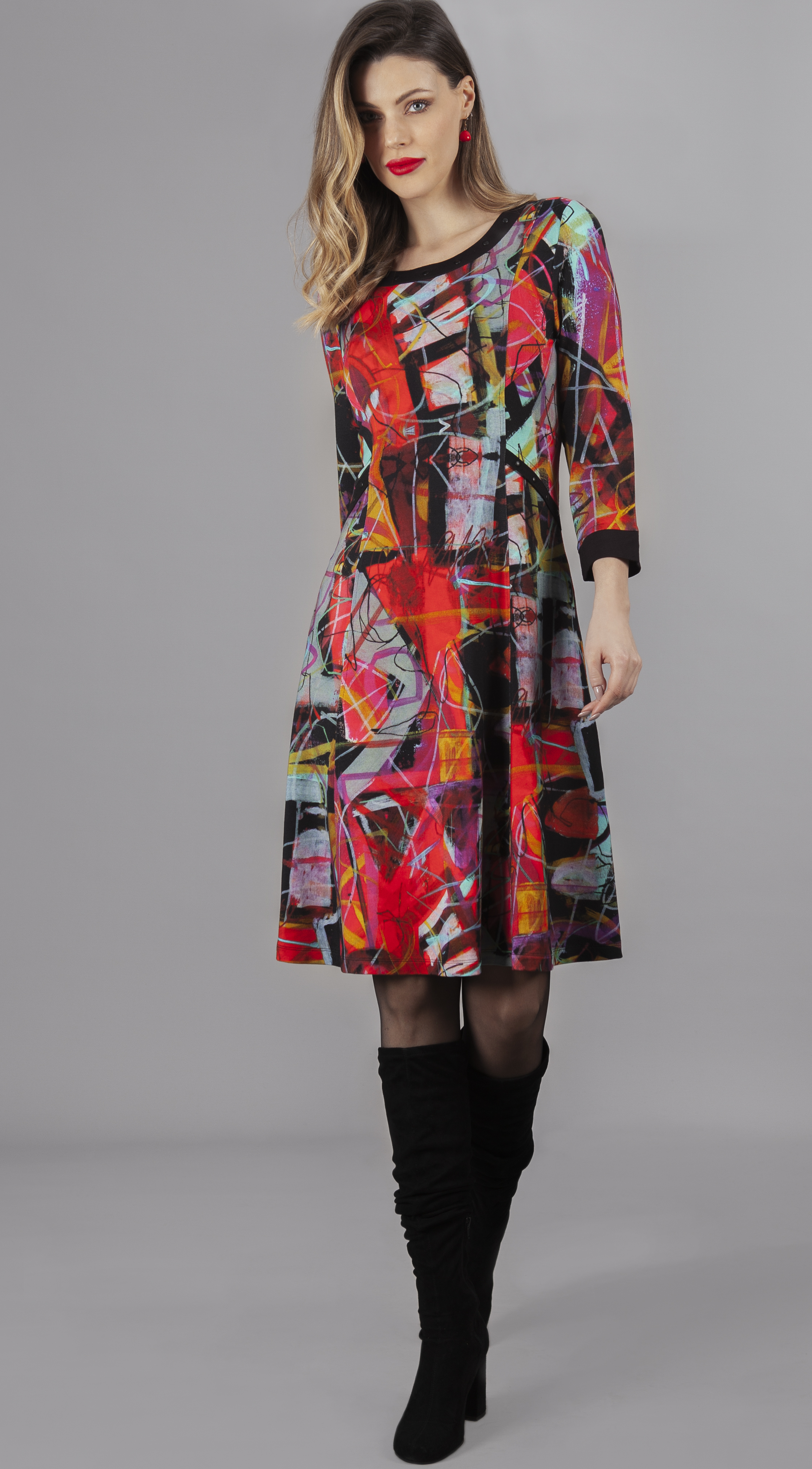 Simply Art Dolcezza: Red 3 Graffiti Abstract Art Flared Dress (1 Left!) DOLCEZZA_SIMPLYART_70626_N