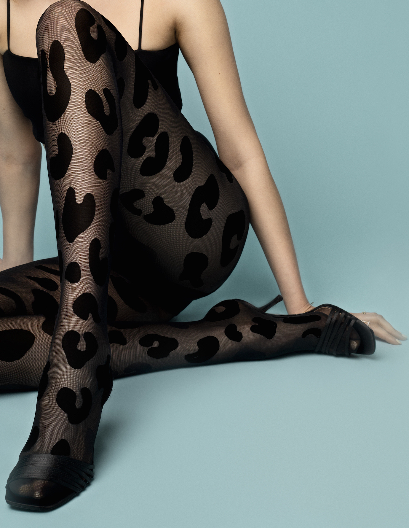 Fiore: Glamorous Black Leopard Patterned Tights