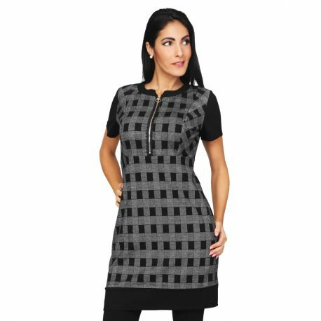 S'Quise Paris: Gingham Check Zip Dress/Tunic SQ_2510