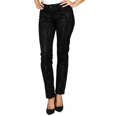 S'Quise Paris: Black On Black Jungle Print Vegan Leather Stretch Pants SQ_9052