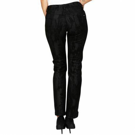 S'Quise Paris: Black On Black Jungle Print Vegan Leather Stretch Pants