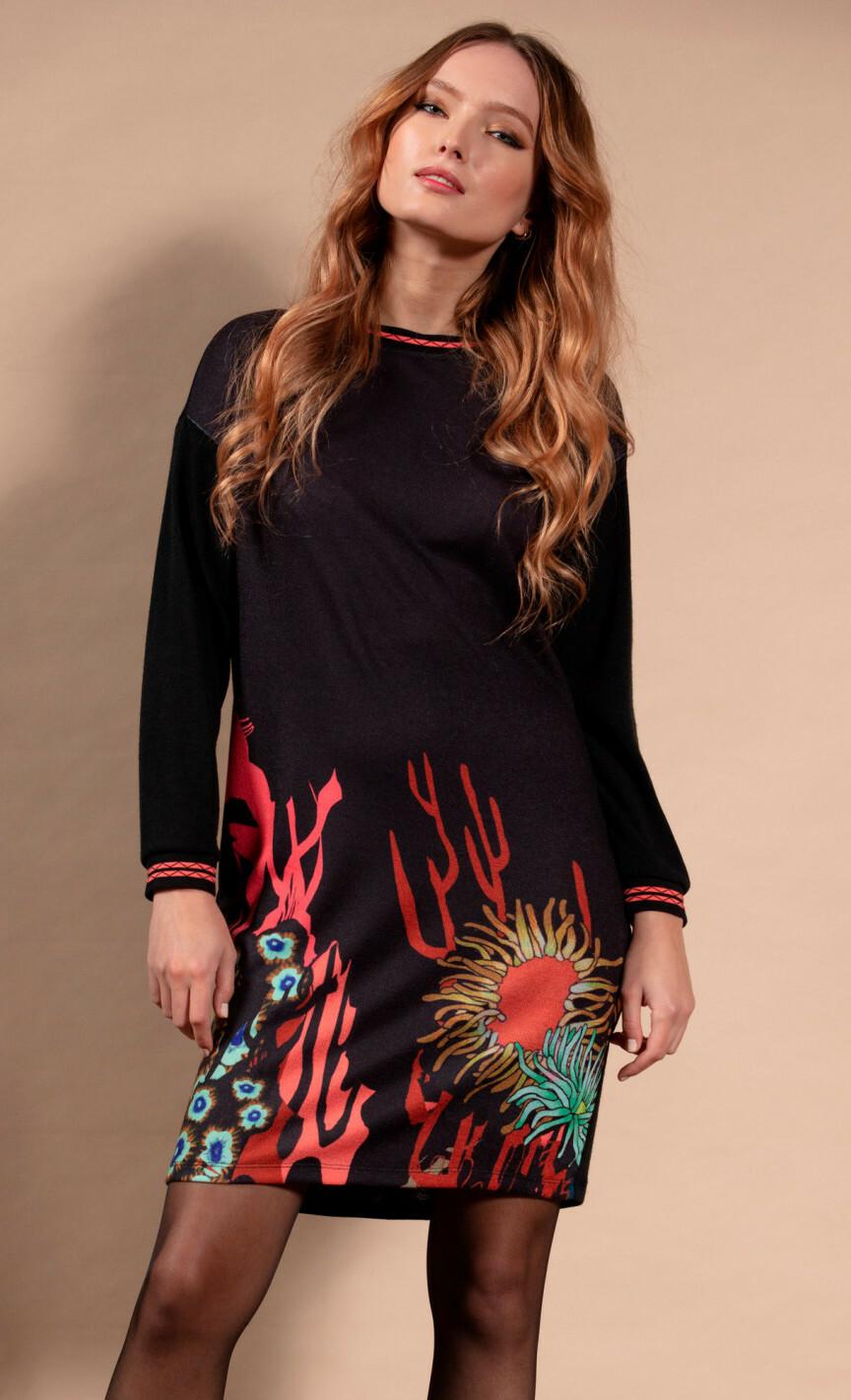 Maloka: Sedona Rock Abstract Art Sweater Dress MK_ERINA