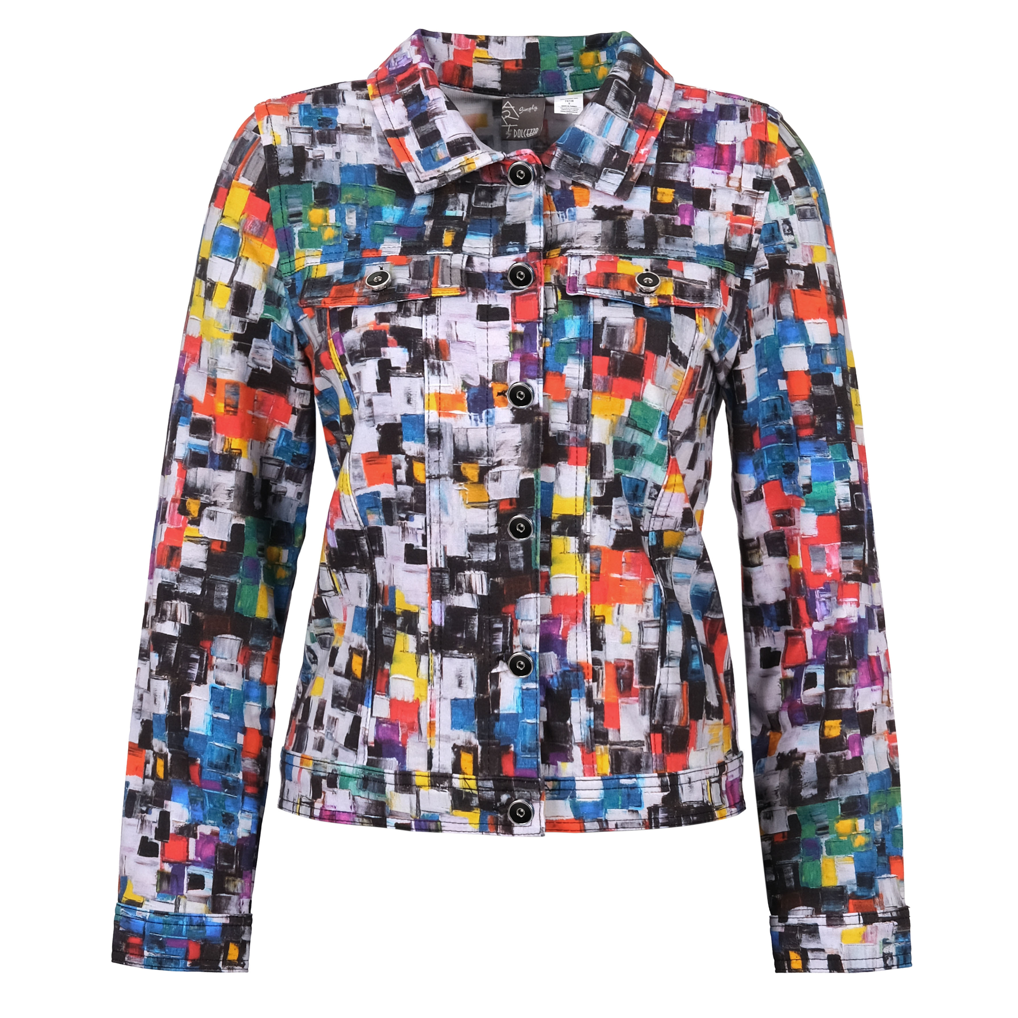 Simply Art Dolcezza: Heads Up In Color Abstract art Denim Jacket DOLCEZZA_SIMPLYART_70728