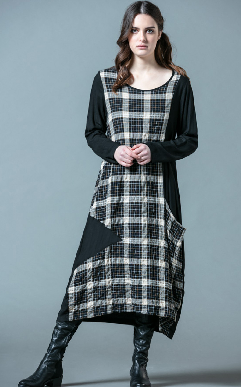 G!oze France: Checkerboard Asymmetrical Pocket Dress G_EDITH