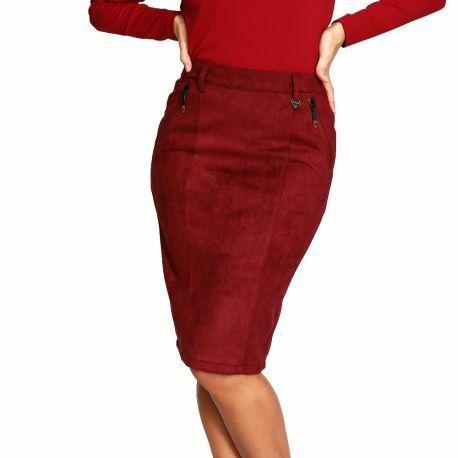 S'Quise Paris: Glam Stretch Faux Suede Pencil Skirt (More Colors!) SQ_9037