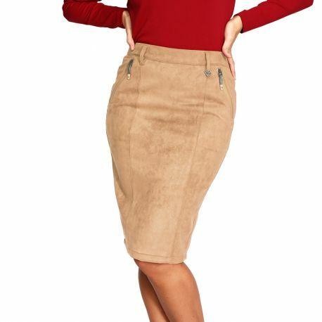 S'Quise Paris: Glam Stretch Faux Suede Pencil Skirt (More Colors!)