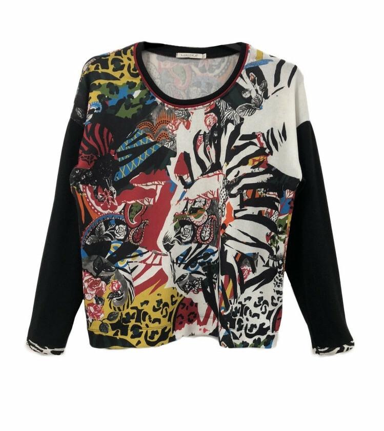Maloka: Tiger Abstract Art Flared Sweater MK_GUELDA