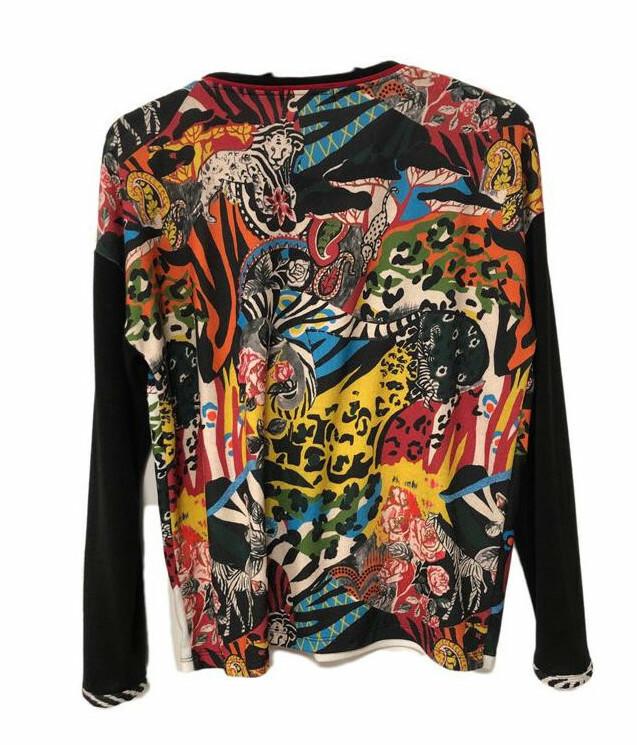 Maloka: Tiger Abstract Art Flared Sweater