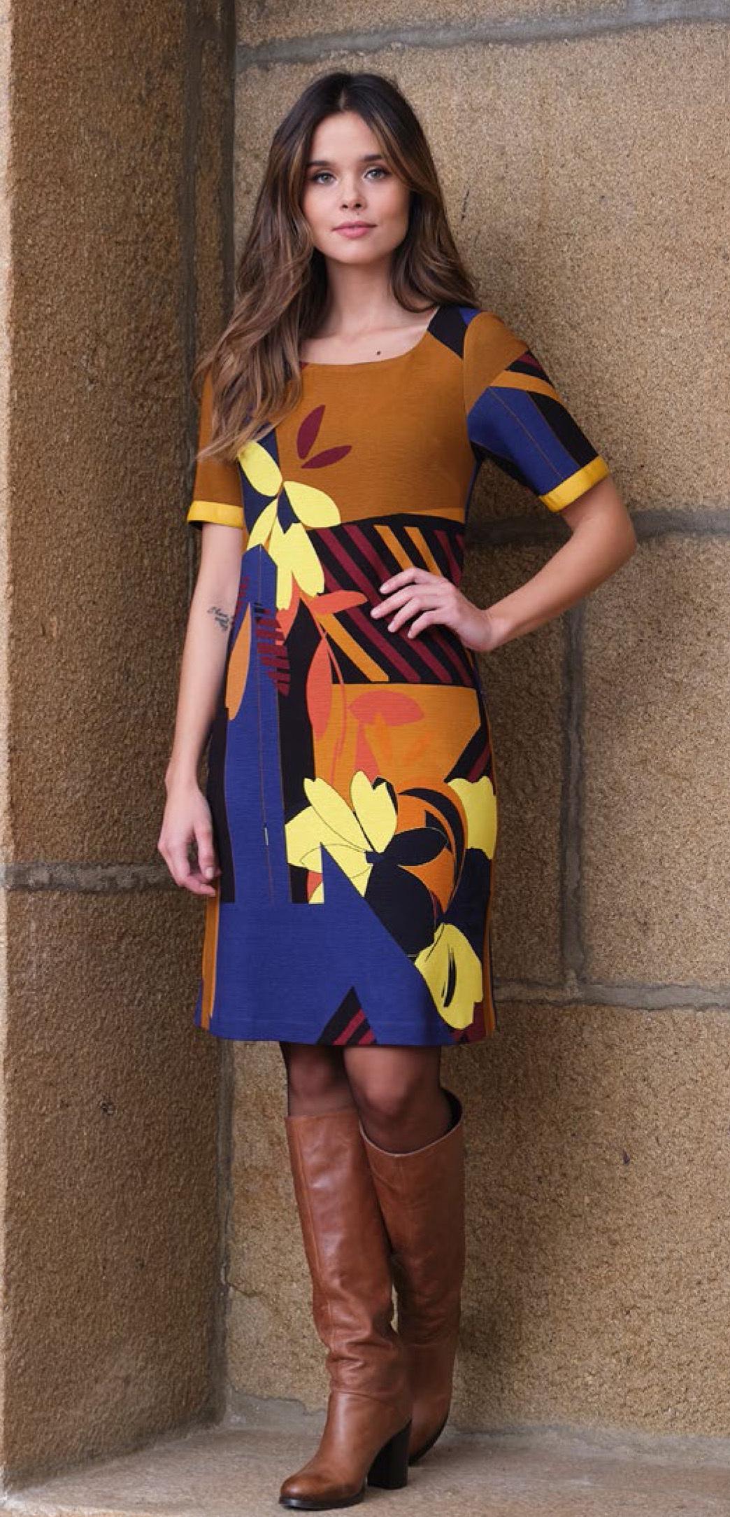Paul Brial: Mansion Inspiration Short Sleeve Abstract Art Dress PB_DESIGN