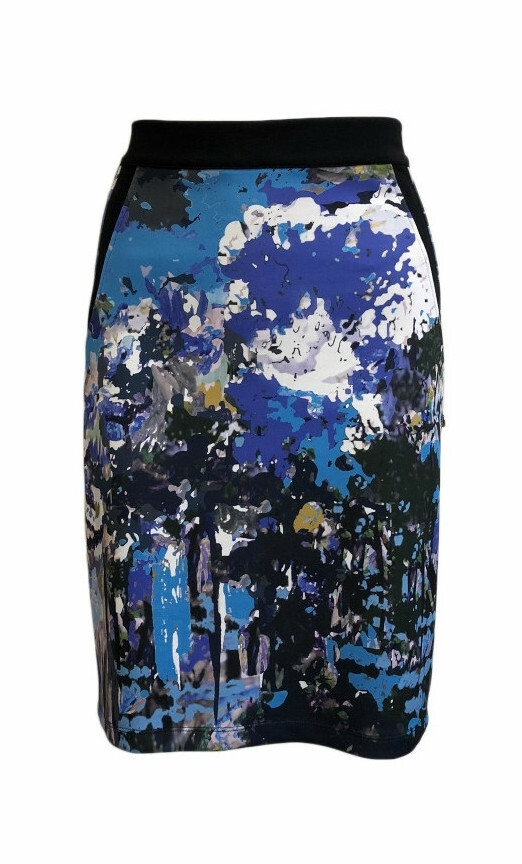 Maloka: Blue Beauty Abstract Art Fitted Skirt (More Colors!) MK_BATHILDE