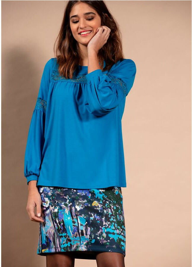 Maloka: Blue Beauty Abstract Art Fitted Skirt (More Colors!)