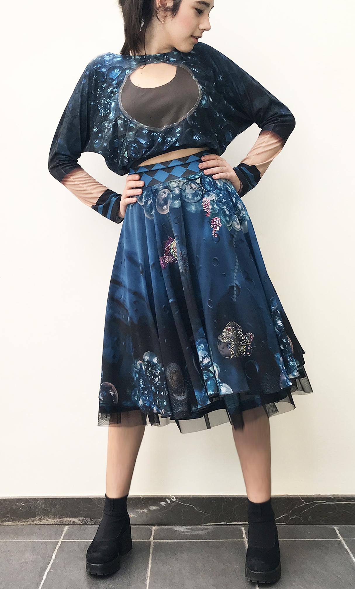 IPNG: Turquarium Jeweled Underwater Illusion Scene Flared Midi Skirt (Some Ship Immed!)