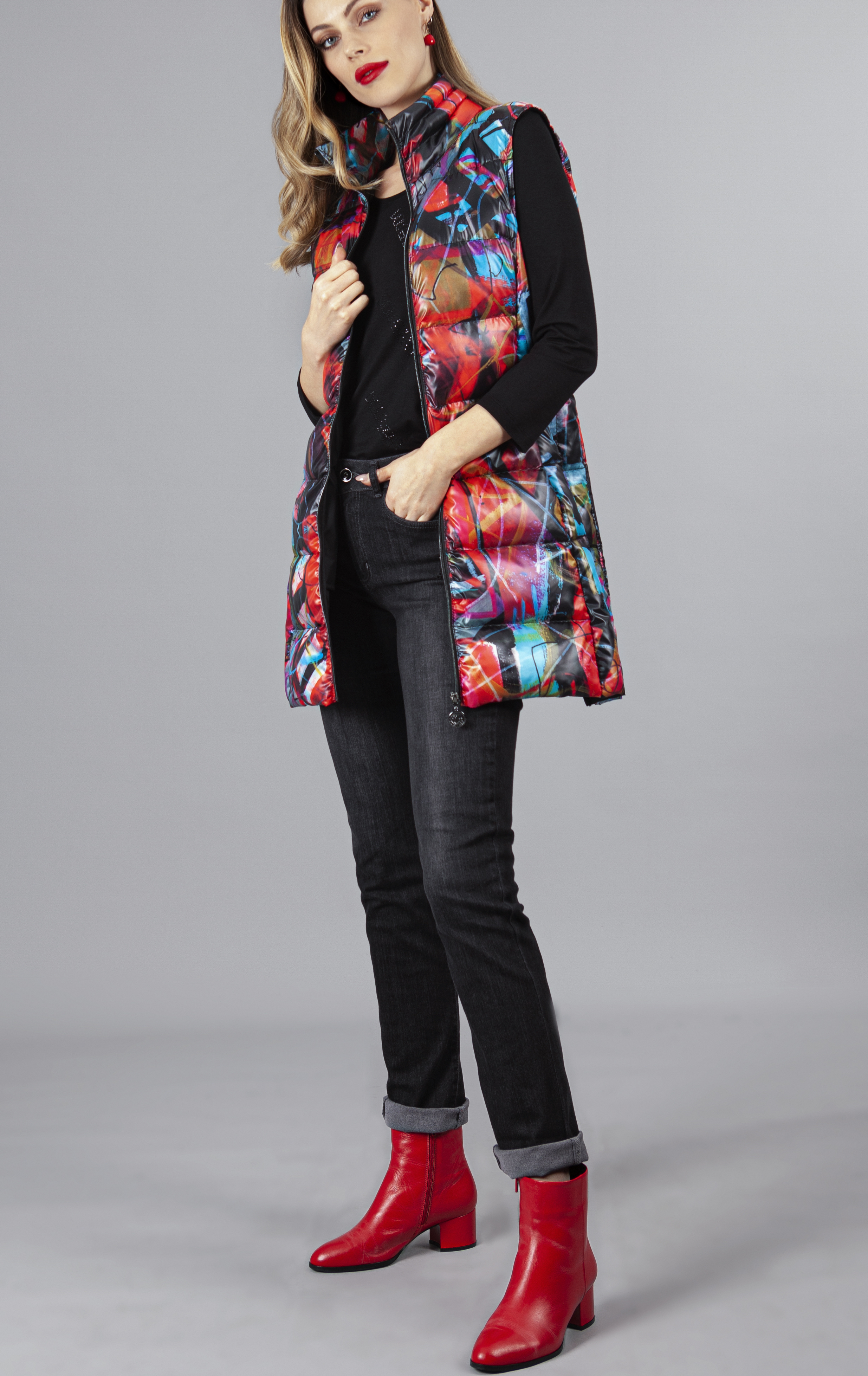 Simply Art Dolcezza: Red 3 Graffiti Abstract Art Long Vest (1 Left!) Dolcezza_simplyart_70801