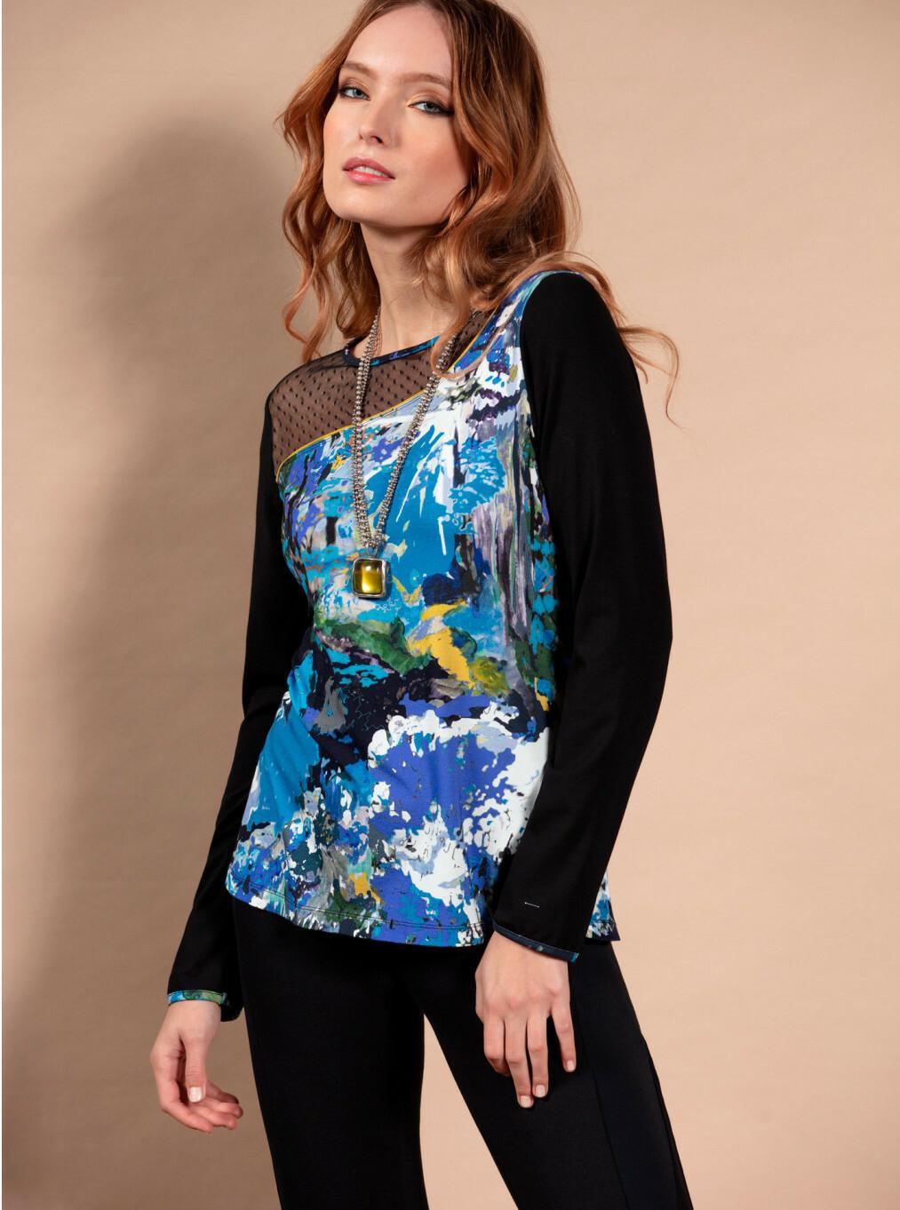 Maloka: Blue Beauty Abstract Art Tunic MK_BELEN