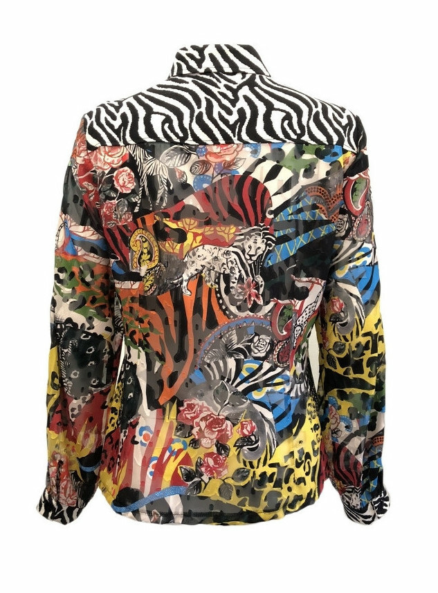 Maloka: Tiger Pieced Abstract Art Buttoned Down Blouse