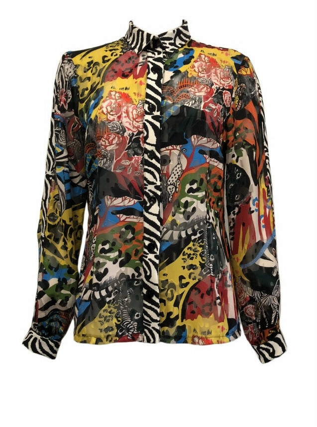 Maloka: Tiger Pieced Abstract Art Buttoned Down Blouse MK_GEISA