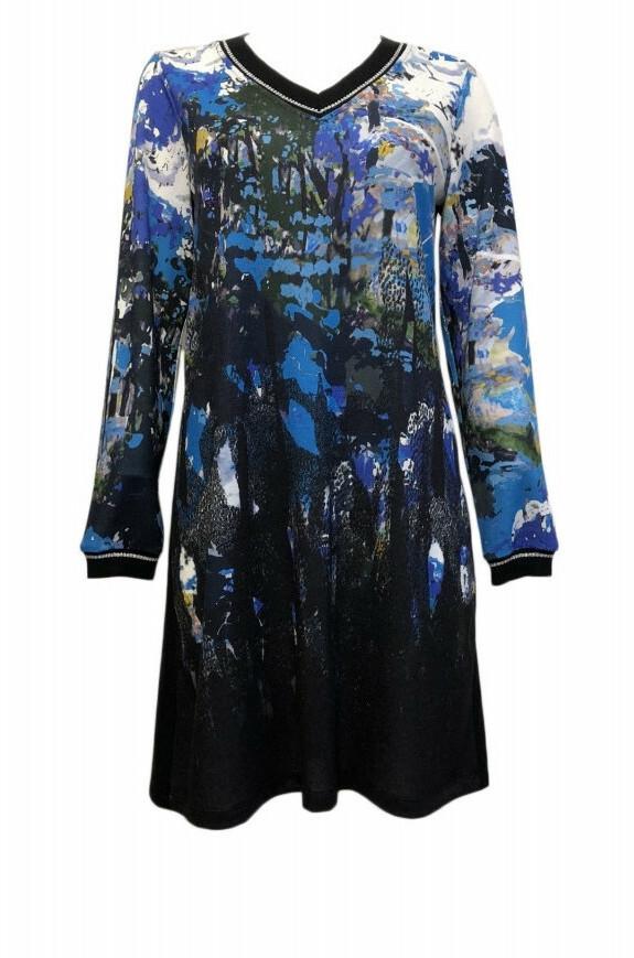 Maloka: Blue Beauty Abstract Art Sweater Dress/Tunic MK_BLAKE