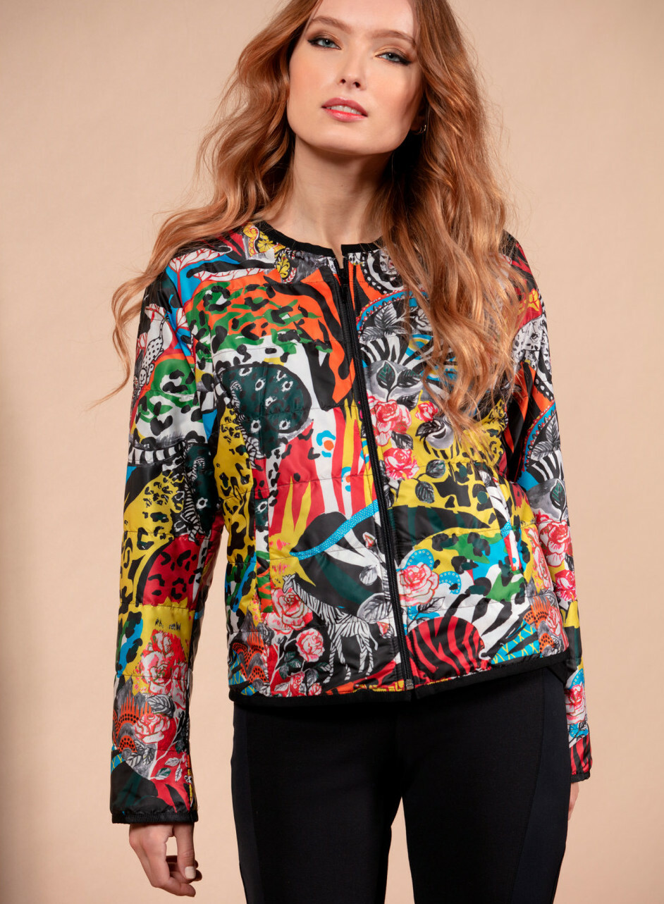 Maloka: Tiger Abstract Art Puff Jacket MK_GORETTE