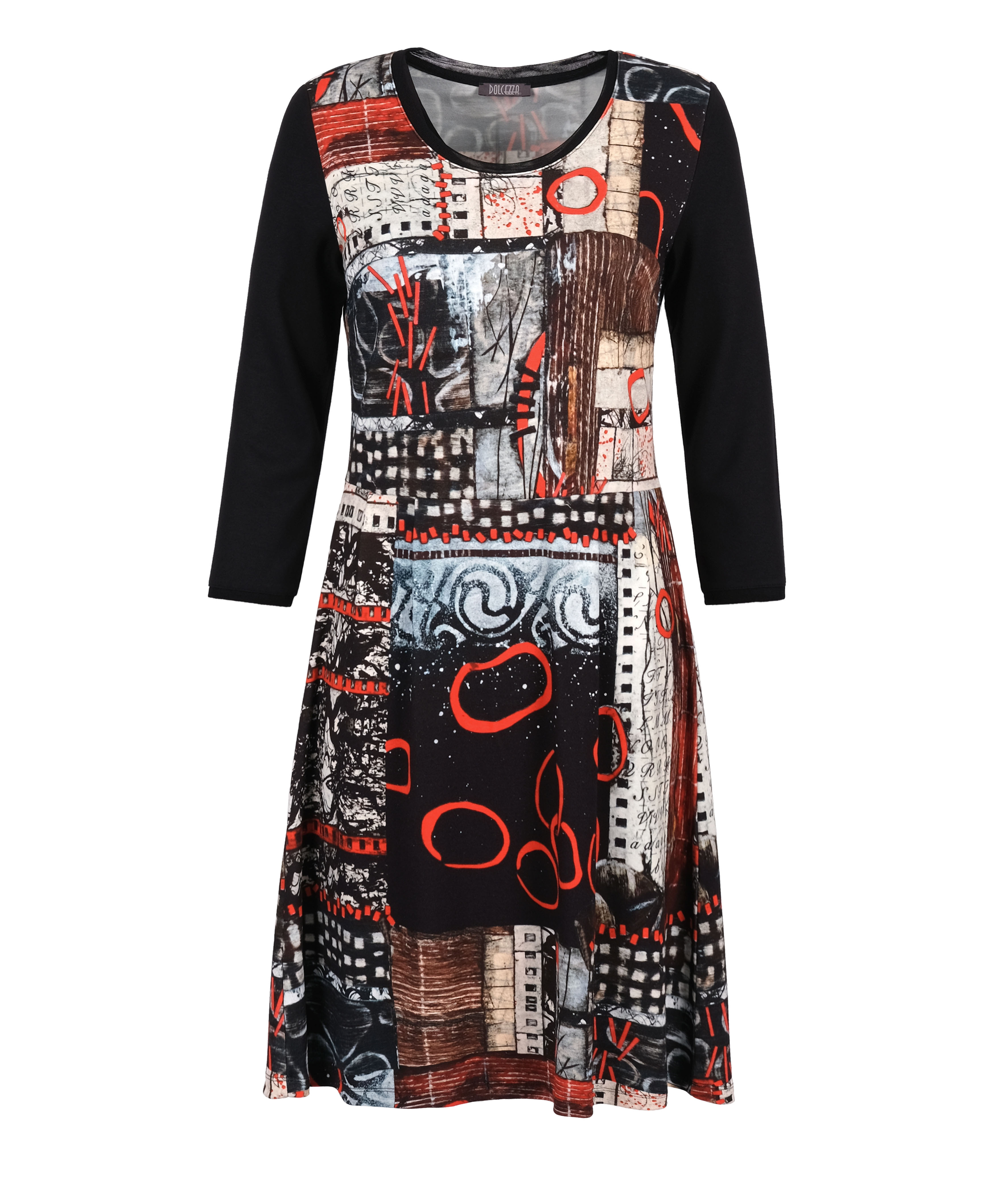 Simply Art Dolcezza: Rising Up In Color Flared Abstract Art Dress (1 Available at Special Price!) Dolcezza_SimplyArt_70715_N