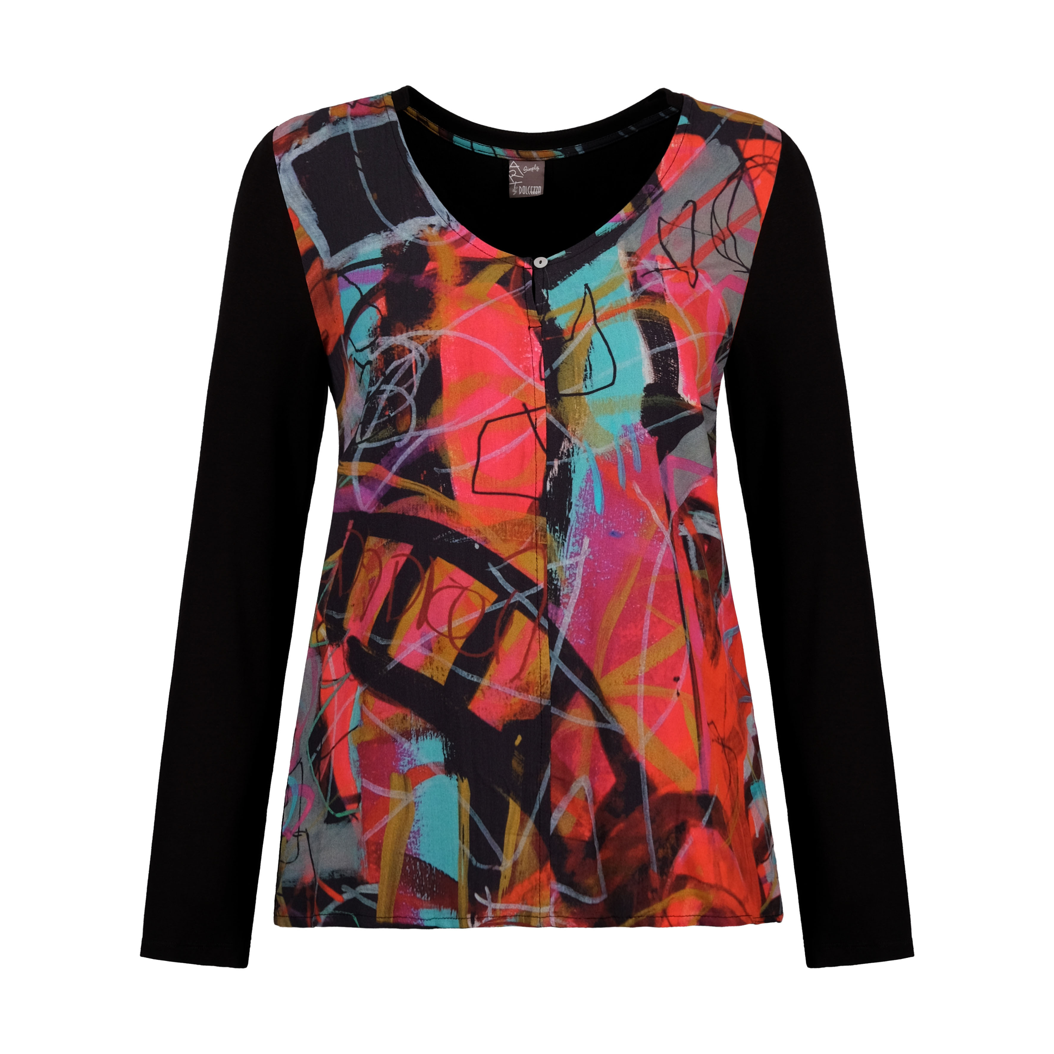 Simply Art Dolcezza: Red 3 Graffiti Abstract Art Keyhole T-Shirt  (1 Available at Special Price!) Dolcezza_SimplyArt_70623