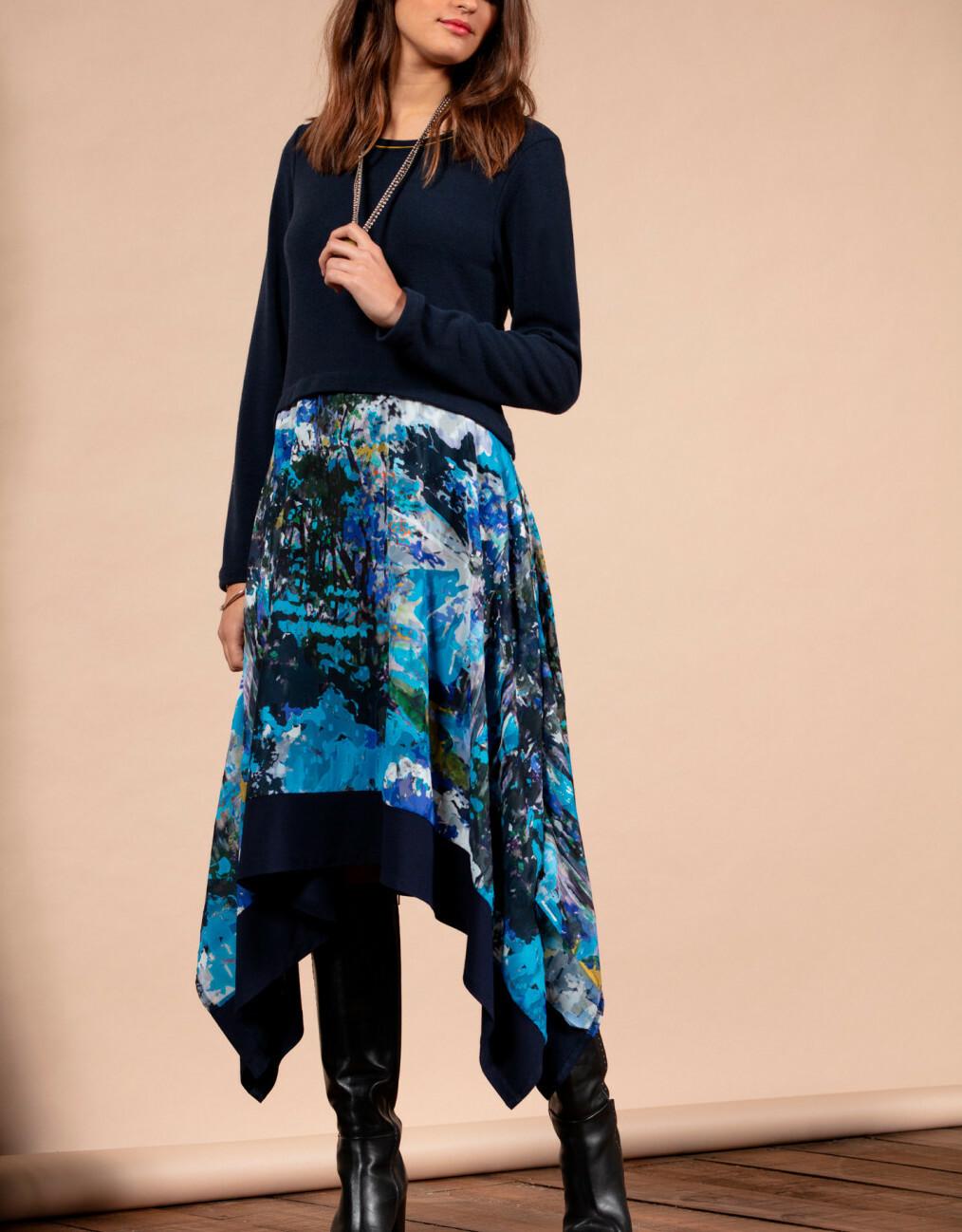 Maloka: Blue Beauty Abstract Art Asymmetrical Sweater Dress (More Colors!) MK_BABILONE