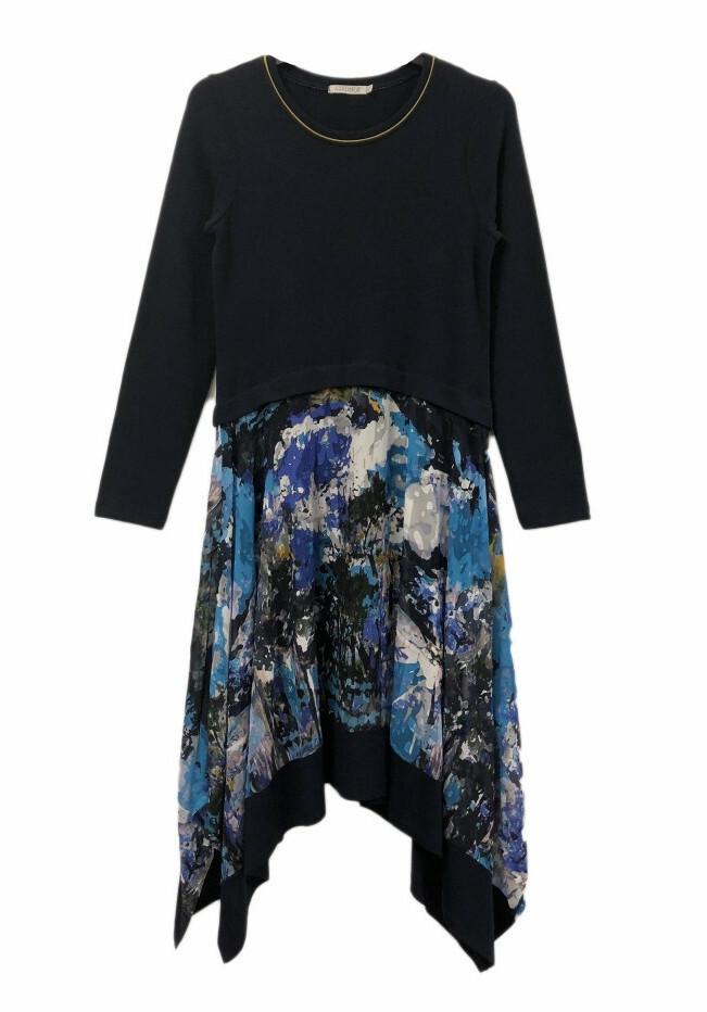 Maloka: Blue Beauty Abstract Art Asymmetrical Sweater Dress (More Colors!)