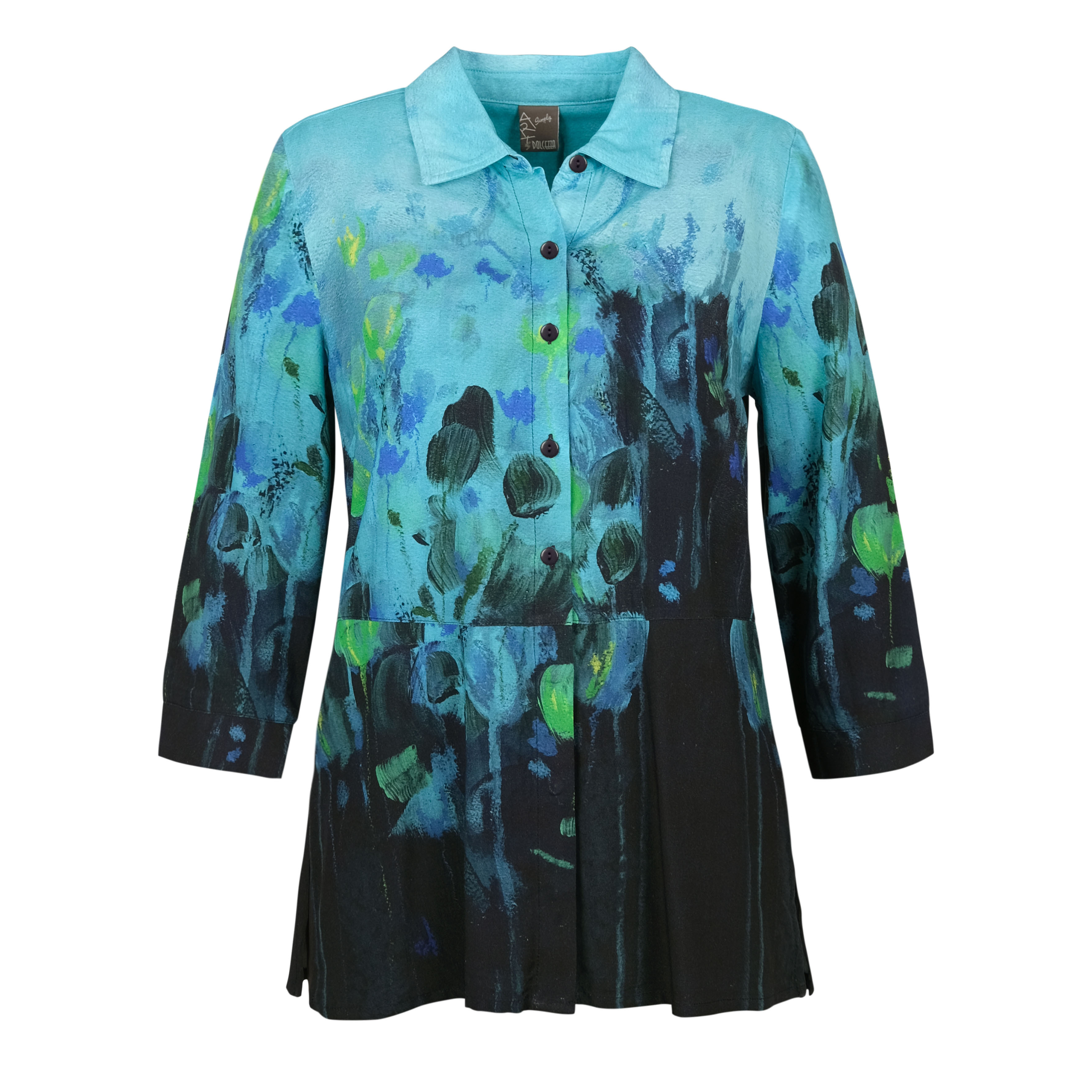 Simply Art Dolcezza: Fantaisie Floralge Abstract Art Buttoned Down Top (1 Available at Special Price!) Dolcezza_SimplyArt_70634