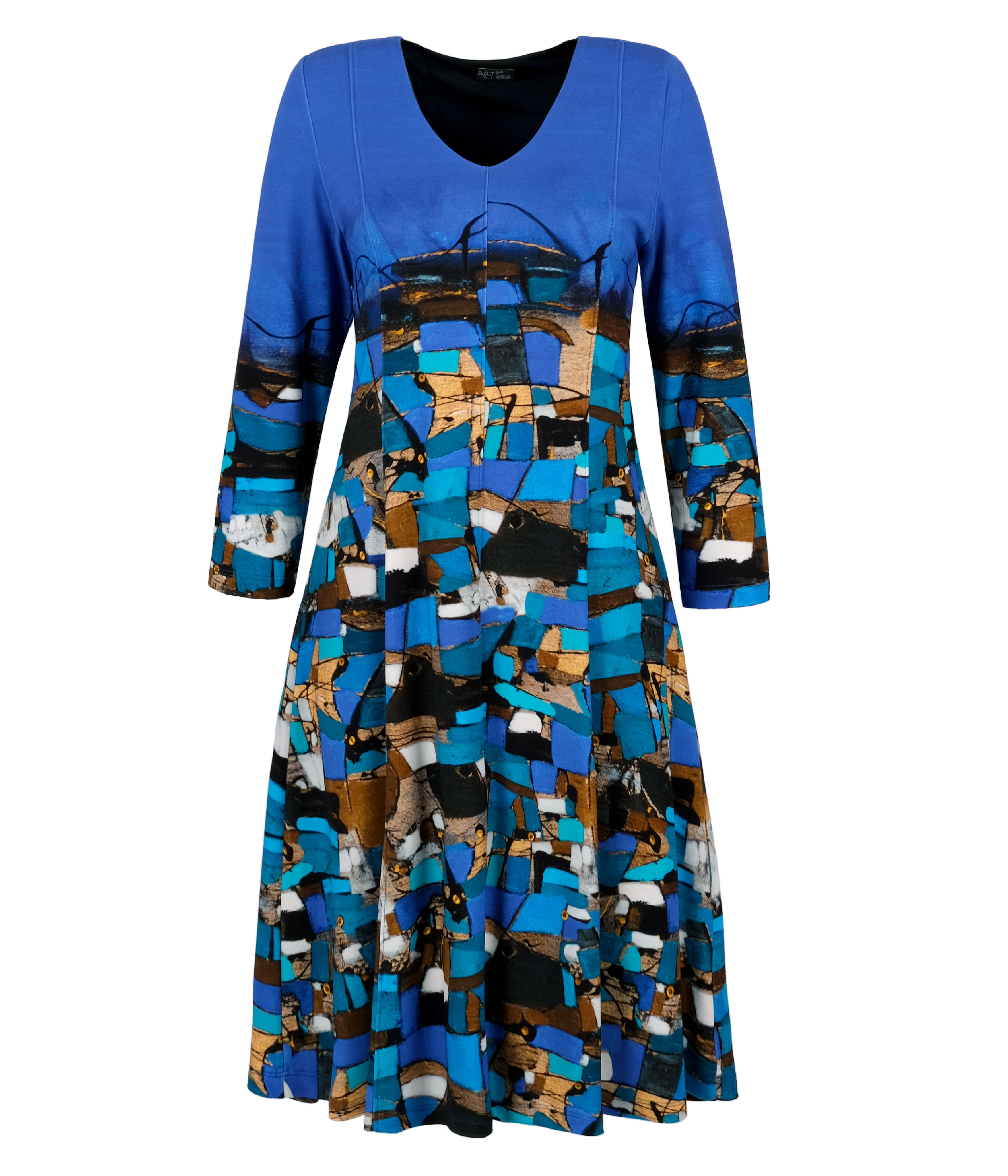 Simply Art Dolcezza: Puente Azul Abstract Art Flared Dress (1 Available at Special Price!) Dolcezza_SimplyArt_70683