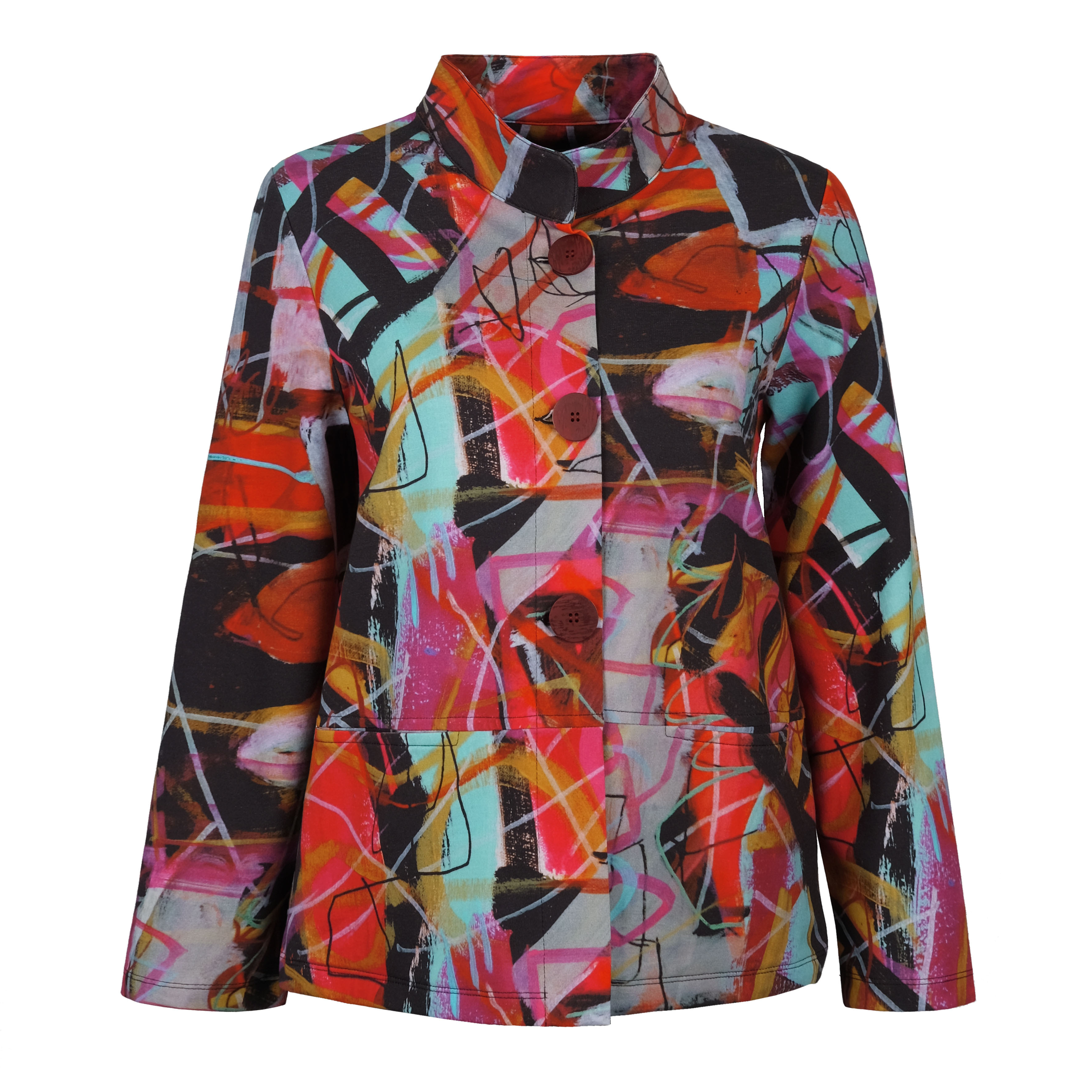 Simply Art Dolcezza: Red 3 Graffiti Abstract Art Flared Jacket (1 Available at Special Price!) Dolcezza_SimplyArt_70628