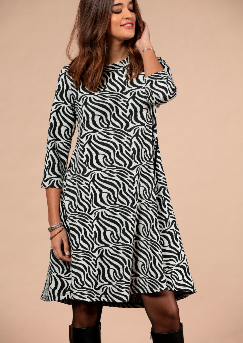 Maloka: Zebra Safari Sweater Dress MK_ZOILA