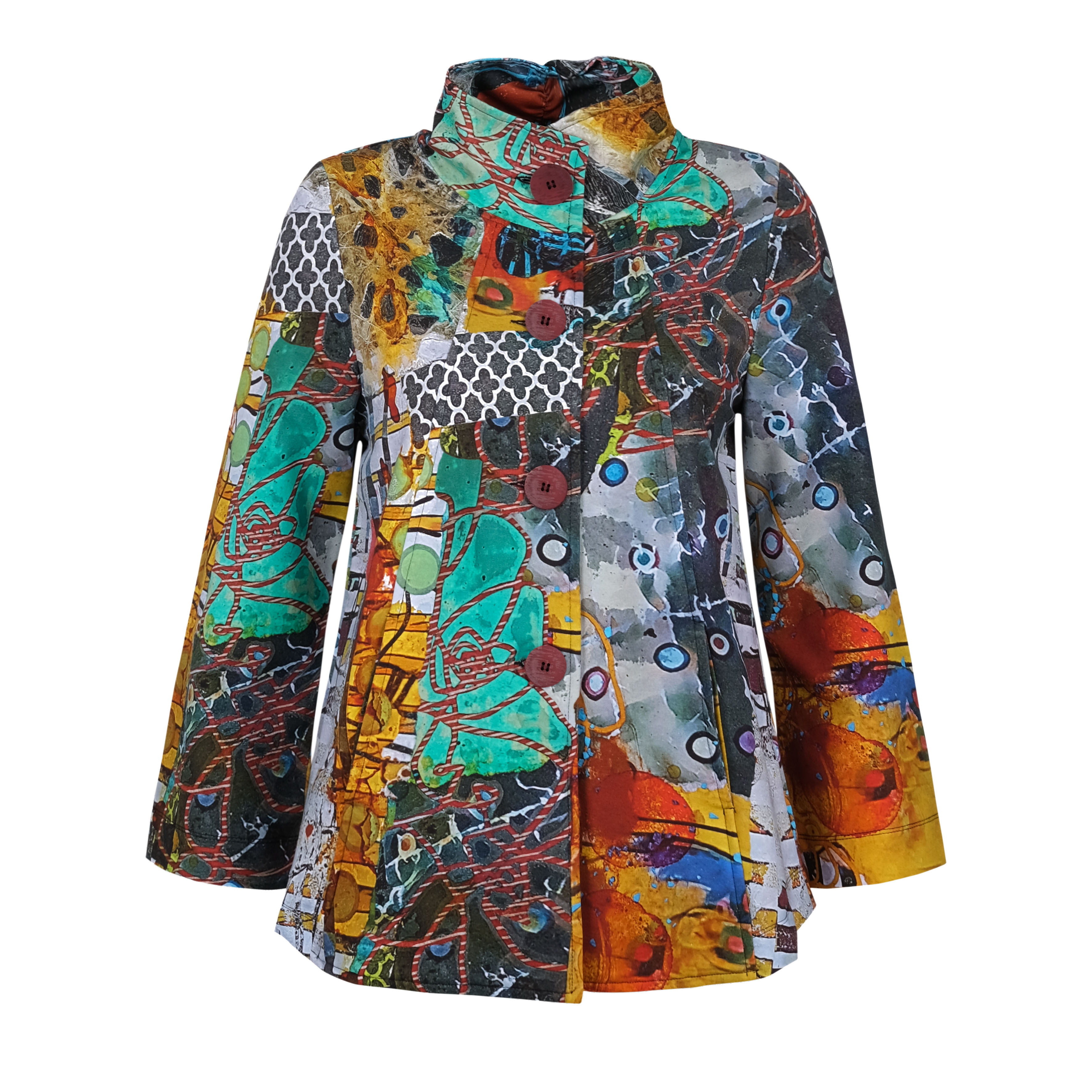Simply Art Dolcezza: Colors Of Flight Aviary Abstract Art Flared Jacket (1 Available at Special price!) Dolcezza_SimplyArt_70735