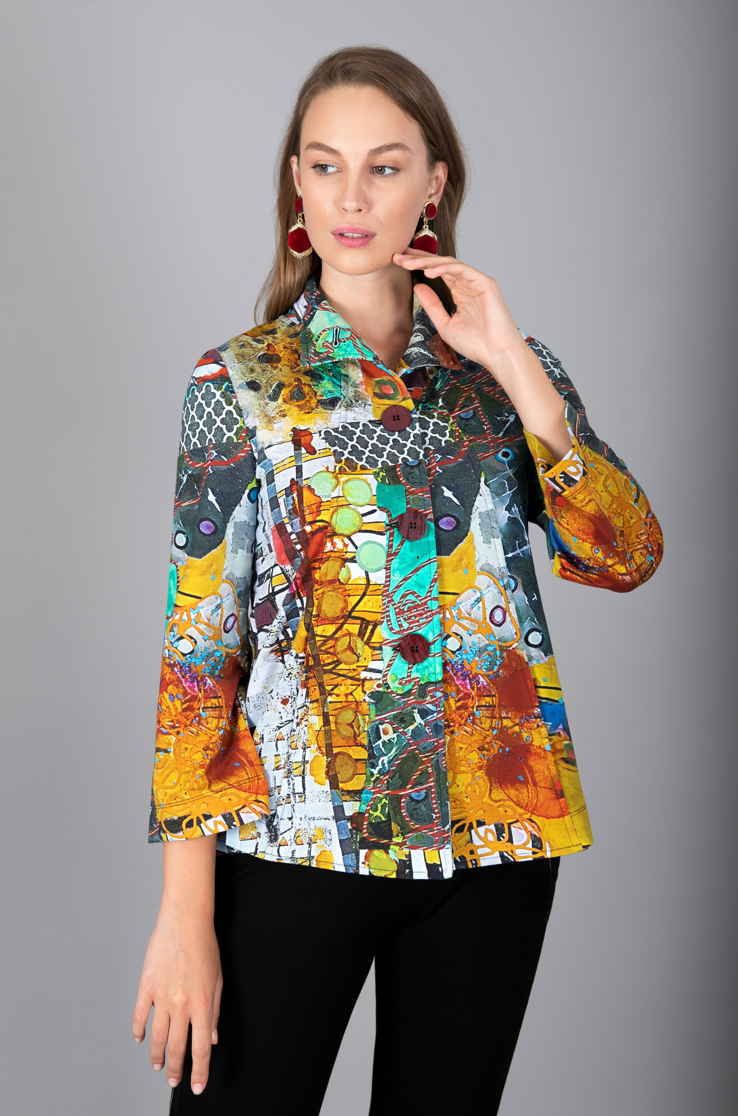 Simply Art Dolcezza: Colors Of Flight Aviary Abstract Art Flared Jacket (1 Available at Special price!)