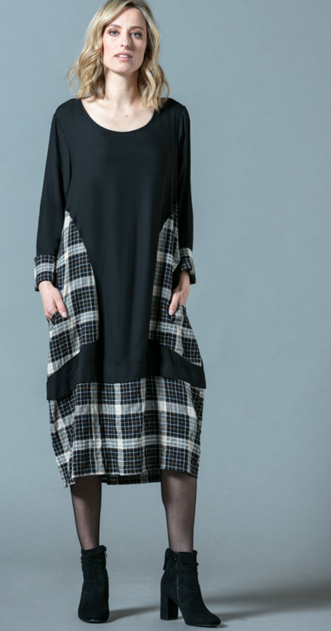 G!oze France: Checkerboard Patchwork Pocket Midi Dress G_EMBLEM