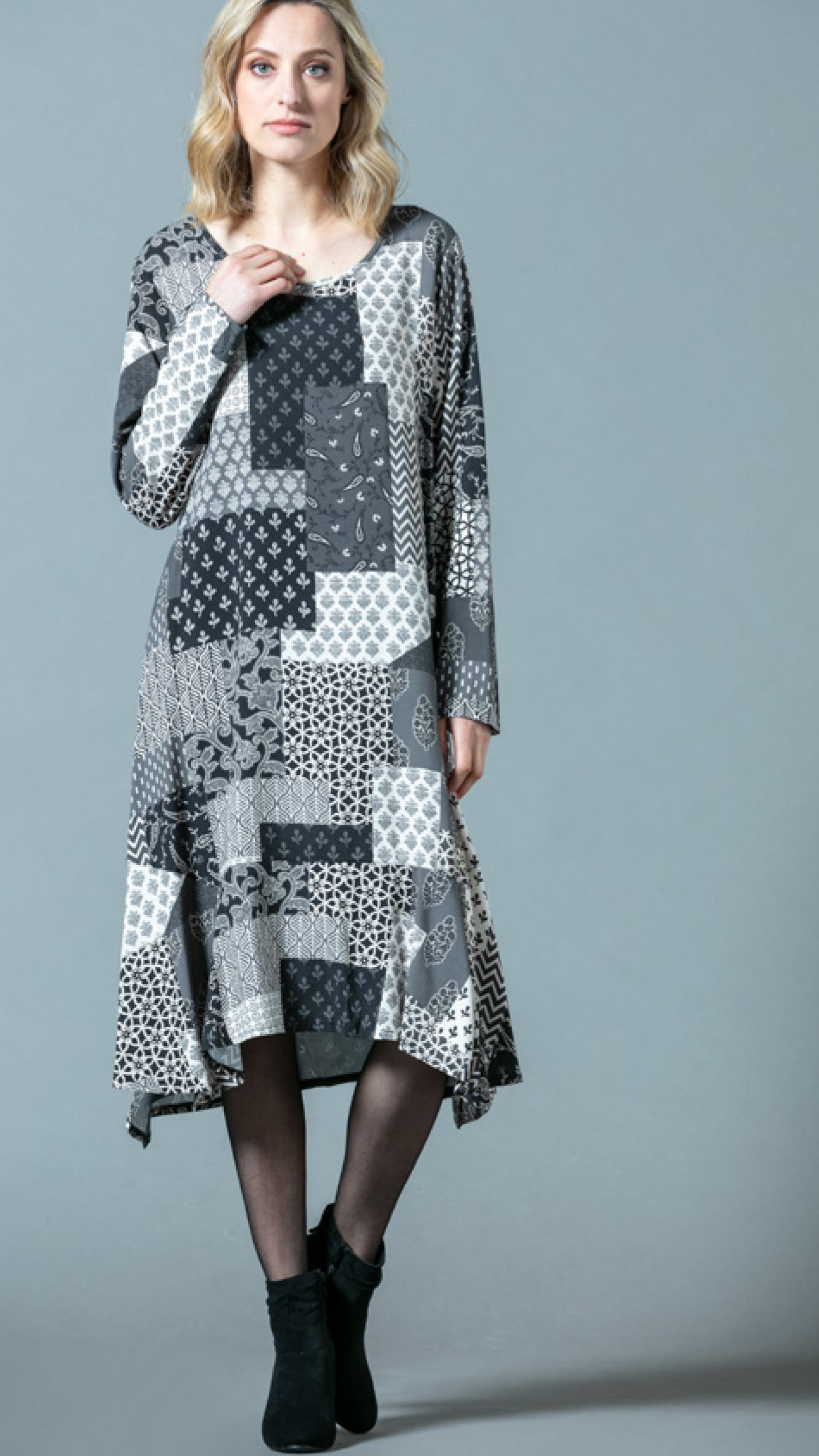 G!oze: Shades Of Gray Patchwork Midi Dress G_ELECTRO