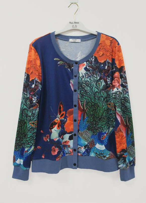 Paul Brial: Orange Butterfly Garden Art Cardigan PB_VISHNOU