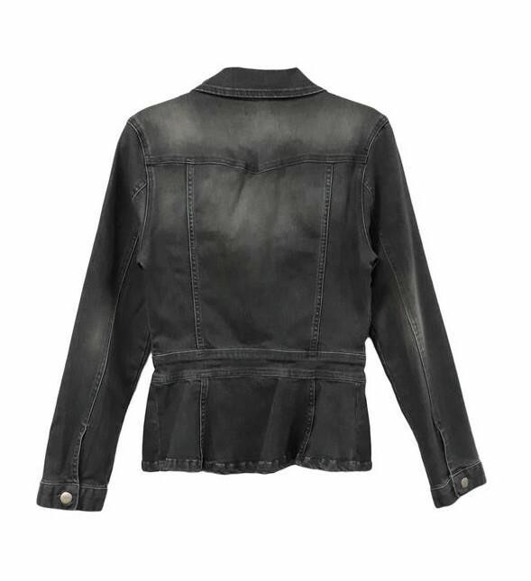 Paul Brial: Flower Flared Stretch Denim Jacket