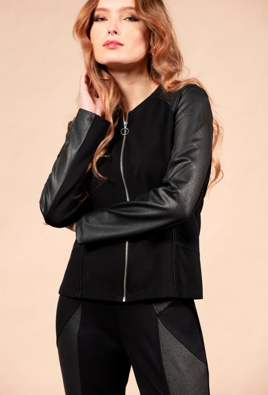 Maloka: Black On Black Vegan Leather Ponte De Roma Jacket (More Colors!) MK_DAGNY