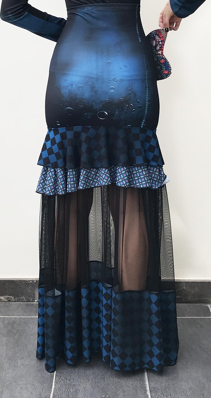 IPNG: Turquarium Jeweled Underwater Illusion Scene Ruffled Long Skirt