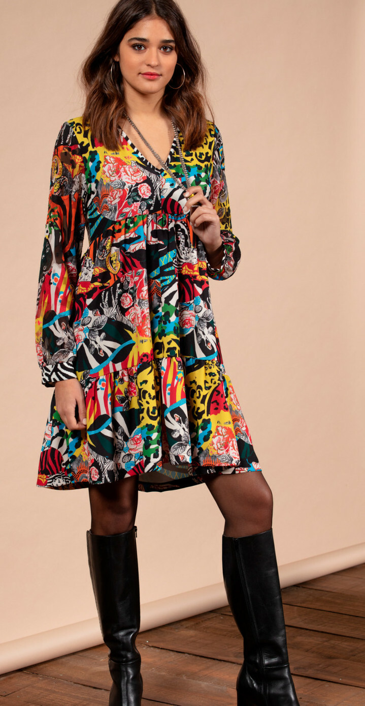Maloka: Jungle Party High Waisted Abstract Art Contrast Dress MK_GILLY