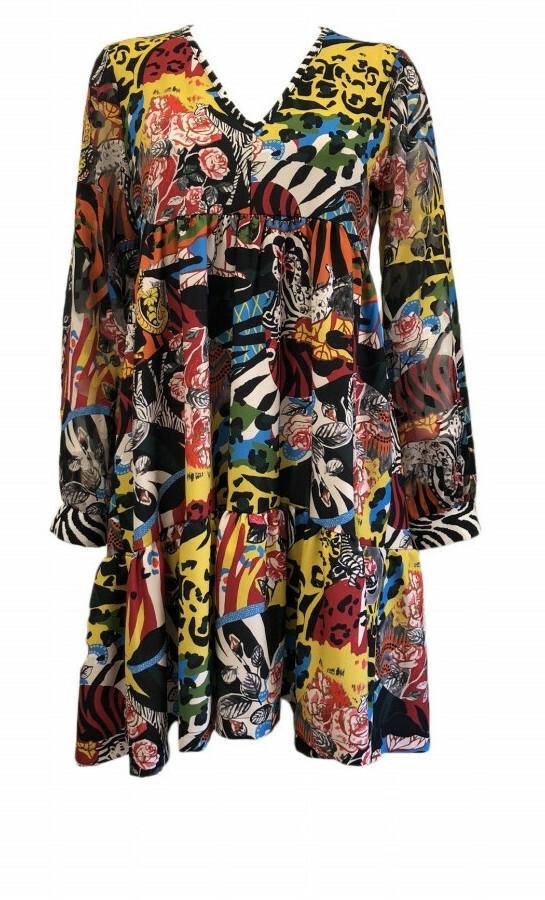 Maloka: Jungle Party High Waisted Abstract Art Contrast Dress