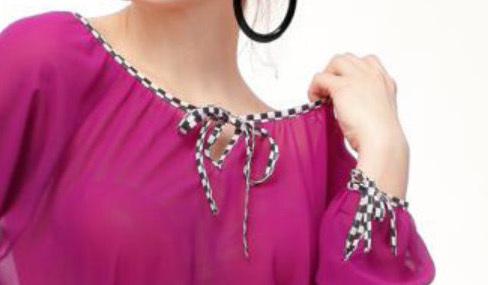 IPNG: Keyhole Tie Up Fuschia Tunic Blouse