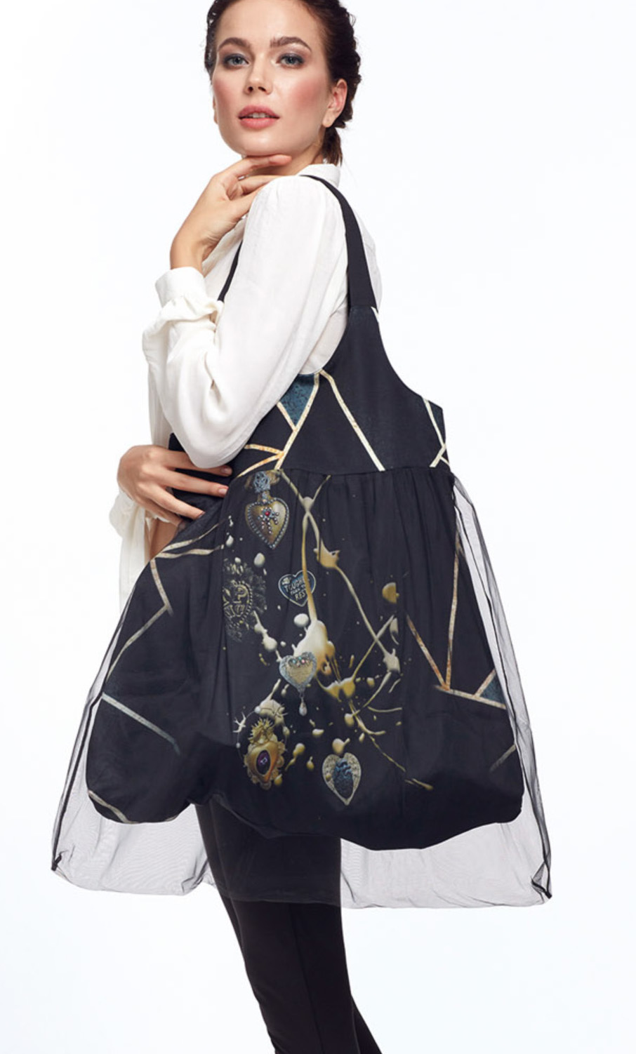IPNG: Love Me Black Bejeweled Illusion XL Tote Bag With Tulle Compartment (Ships Immed, 2 Left!) IPNG_Ab-011_N