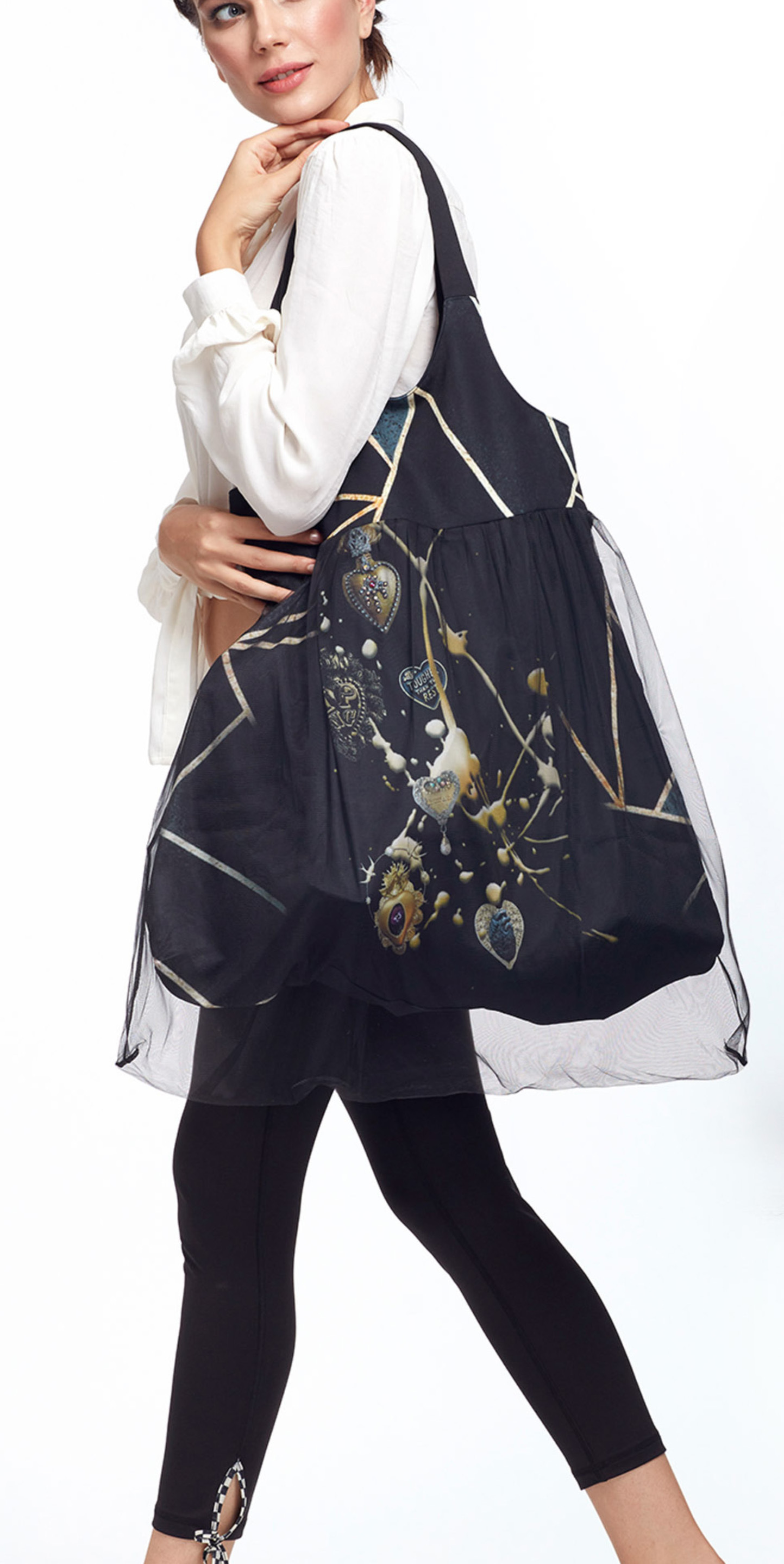 IPNG: Love Me Black Bejeweled Illusion XL Tote Bag With Tulle Compartment (Ships Immed, 2 Left!)