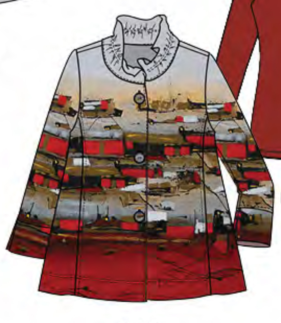 Simply Art Dolcezza: Sunshine Village Abstract Art Flared Jacket (1 Available At Special Price!)