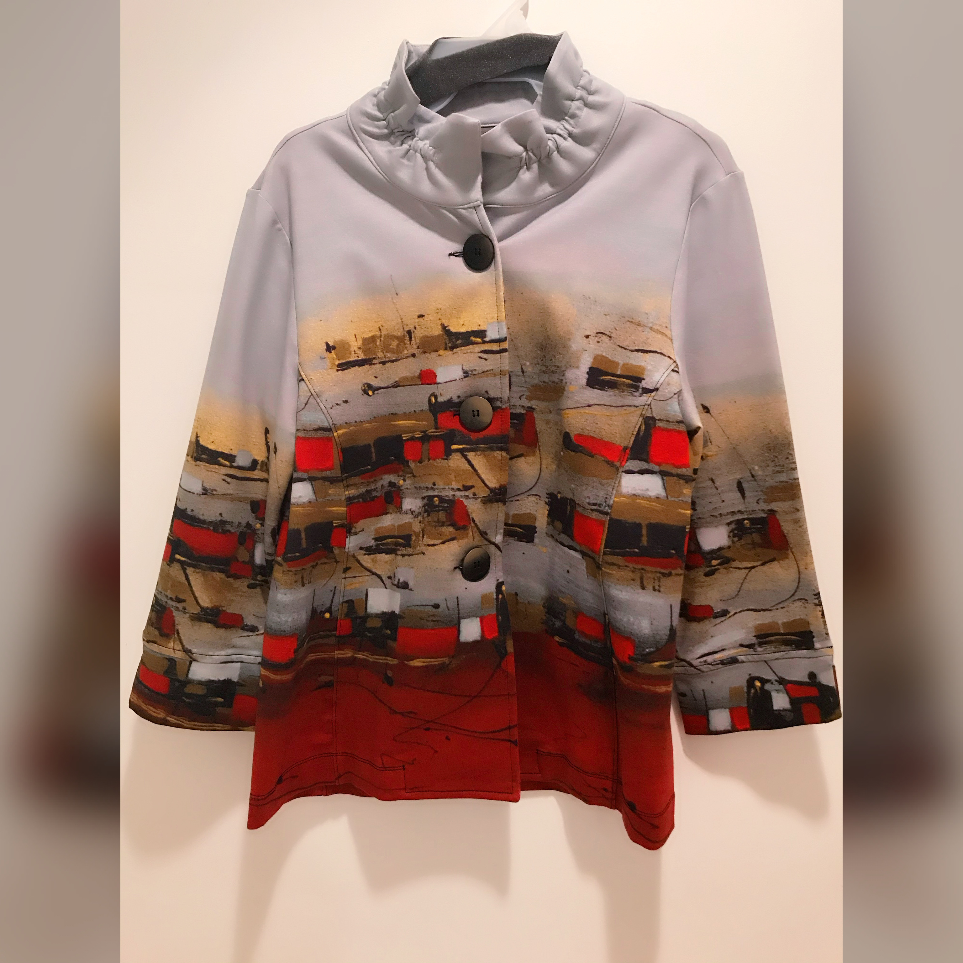 Simply Art Dolcezza: Sunshine Village Abstract Art Flared Jacket (1 Available At Special Price!) Dolcezza_SimplyArt_70756
