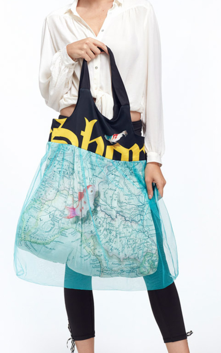 IPNG: Paper Boat Trip Illusion XL Tote Bag With Tulle Compartment (Ships Immed, 1 Left!)