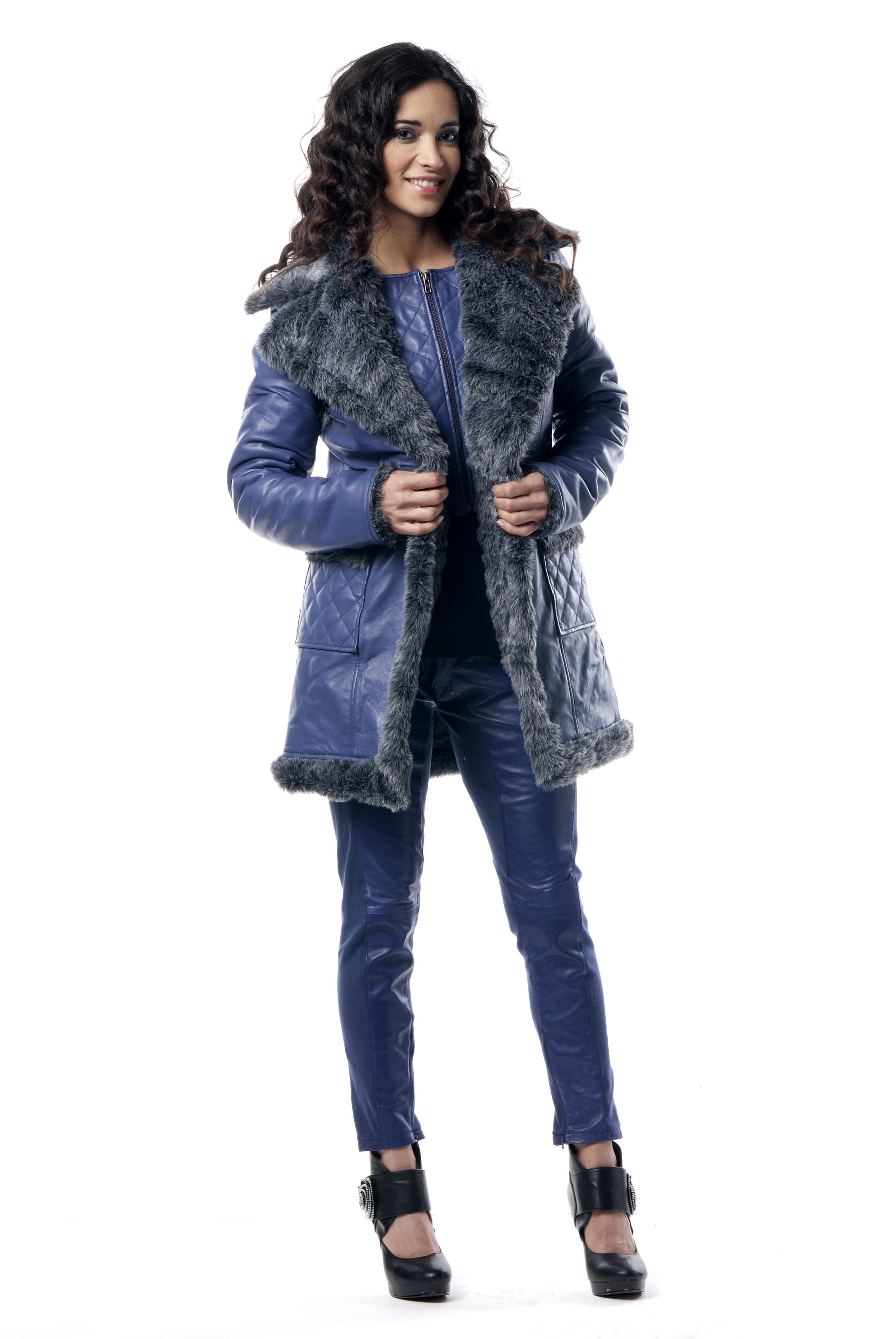 Les Fees Du Vent Couture: Crazy Sexy Genuine Leather Faux Fur Coat (Almost Gone!) LFDV_556107_N